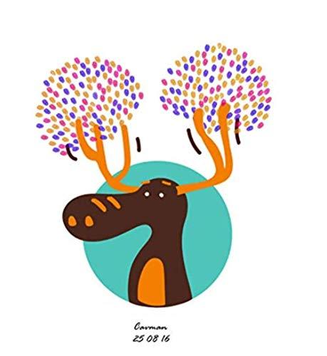 Yqgdss Cartoon Elch Hochzeit Geburtstagsparty Fingerabdruck Anwesenheit Leinwand Zeichnen Anmelden Buch DIY Hause Dekorative Malerei Tapete Unterschrift Souvenir 30x40cm