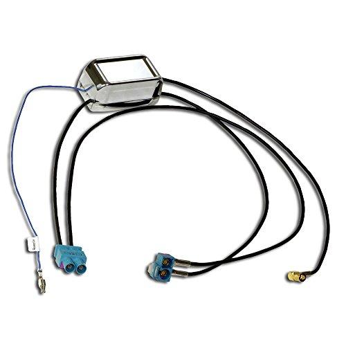 DAB+ und UKW Antennenverteiler für die vorhandenen Fahrzeugantennen von VW, SKODA und Seat; zum Anschluss von DAB+ Radios oder Navis an Diversity Antennensysteme; KEINE zusätzliche DAB+ Antenne nötig - Doppel-antennen-adapter