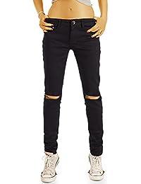 Bestyledberlin Damen High Waist Jeans, Ripped Knee Slim Fit Jeans, Basic Röhrenjeans j77i