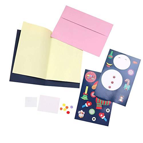 Toyvian Weihnachtsgrußkarten Weihnachten Urlaub Karte handgefertigt Material Tasche Basteln DIY Lieferungen für Kinder Kind (Schneemann Muster) - Schneemann-bausatz