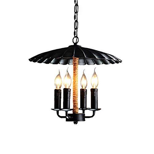 ZHANG NAN ● Vintage Kronleuchter Loft Industrie Antikes Kerzenlicht mit Hanfseil 4-Lghts E14 Esstisch Bar Beleuchtung ● -