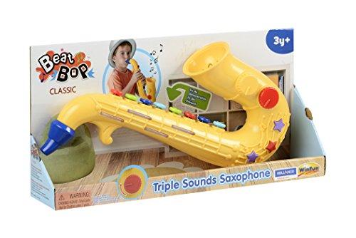 WinFun Kinder Saxophon Saxofon Spielzeug mit Soundeffekten Tröte Instrument