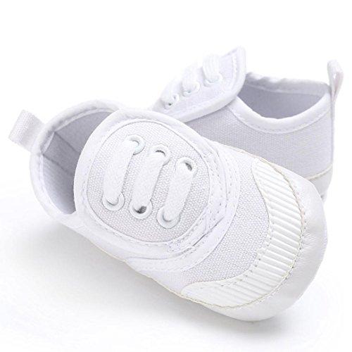 Igemy 1Paar Baby Schuhe Junge Mädchen Neugeborene Krippe Soft Sole Schuh Sneakers Weiß