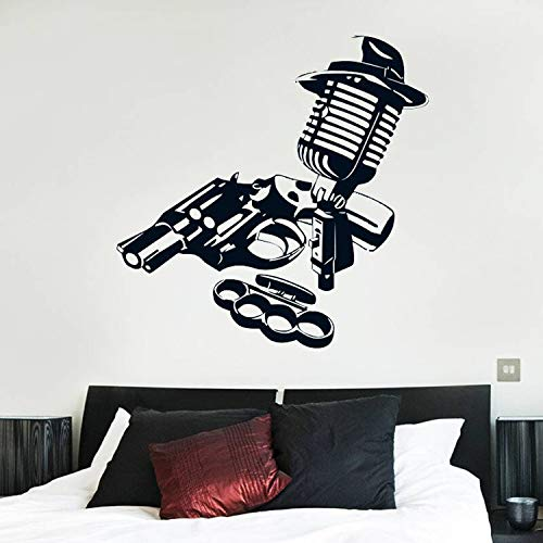 Mikrofon Knuckles Gun Wandtattoo Waffe Hut Film Vinyl-Fenster-Aufkleber Teens Schlafzimmer Wohnzimmer Man Cave Wohnkultur Cool, 28 Dunkelgrau, 28x28 cm