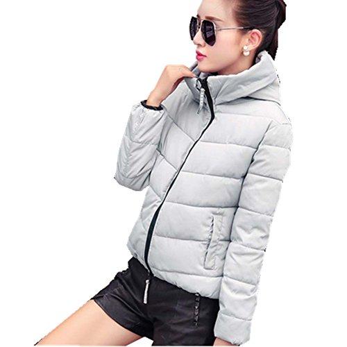 ZEARO Damen Jacke Herbst Winter Frauen Baumwolle Gefütterte Kurze Jacken Oberbekleidung Wintermantel mit Kapuze Grey