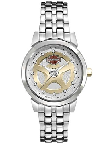 Harley Davidson 78L114 Women's Bulova Spoke Gold & Silver Dial Stainless Steel Watch