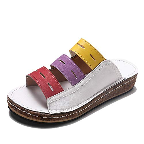 JPNVTUO Fashion Women Chic Three-Color Stitching Sandals Summer Beach Open Toe Slip-on Women Sandals