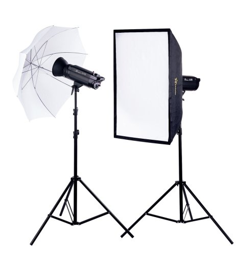 Foto Kamera Studio Blitz Set Flash Kit mit 2 x 750W/s Leitzahl 82 2 Leuchtenstative Softbox Reflexschirm