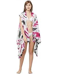SOURBH Women's Soft Art Silk Beach Wear Sleeveless Printed Shrug Body Swim Cover Up (Free Size)