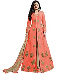 Ethnic Wings Women Banglory Silk Anarkali Semi-Stitched Salwar Suit (EMMRR_10772_Orange _Free Size)