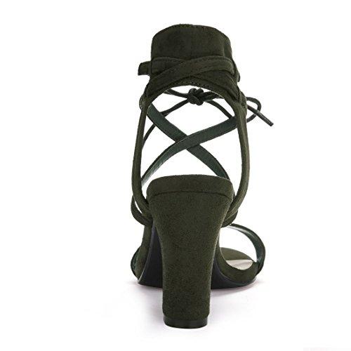 Allegra K Donnepunta aperta caviglia cravatta alta Grosso Sandali con tacco CI Nero 9 Army Green