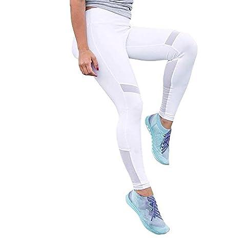 FriendG Women Yoga Net Yarn Leggings Running Joggings Trousers Quick-dry Pants (White, XL)
