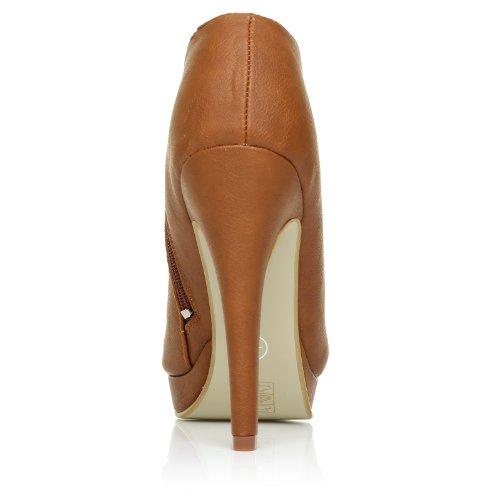 H20 Scarpe donna stivaletto a tacco alto in pelle PU marroncino PU
