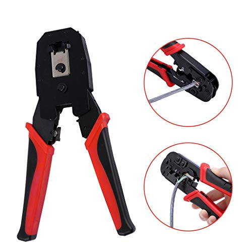 Abisolierzange Multifunktions-Netzwerkkabel Stahl Abisolierzange Crimper Crimp Cutter Zange Werkzeuge Handwerkzeug Artefakt Elektriker Stripping Twisting Line Artefakt (1PC) -