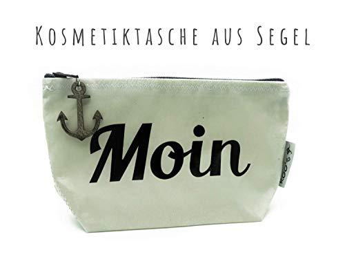"""Kosmetiktasche\""""MOIN\"""" ★ Recyceltes Segel mit Lederanker ★ Kulturbeutel ★ Schminktasche ★ Schwarz-weiß ★ Individualisierbar"""