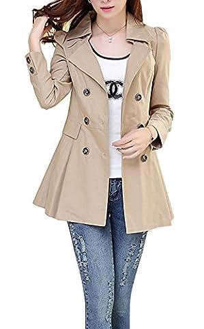 Blansdi 2017 Femme Manteau Trench Double Boutonnage Col Droit Trench coat veste printemps et d'automne léger mince manches longues pour femmes léger la modèle