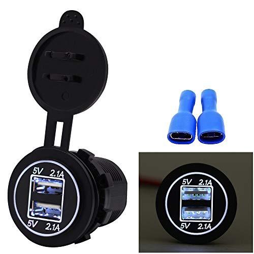Wokee Auto Ladegerät, USB Auto Adapter 5 V 2.1A Dual USB Ladegerät Buchse Adapter Steckdose für 12 V 24 V Motorrad Auto KFZ Ladegerät mit LED Digital Voltmeter (Weiß)