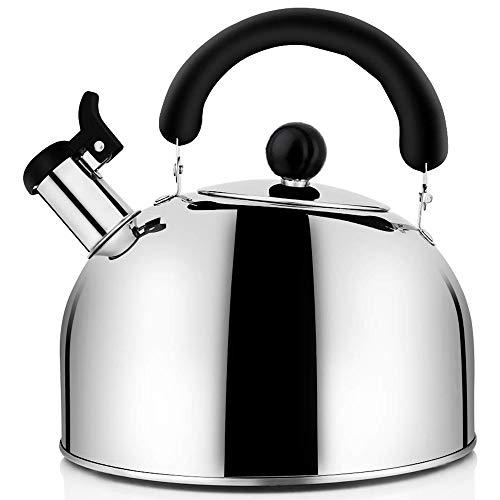 TOOGOO Té Caldera Stovetop Whistling Pot, Teteras de Té de Acero Inoxidable Teteras para Estufa, 4.3Qt (4 litros) de Gran Capacidad con Base de Cápsula