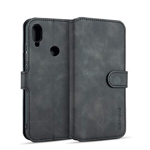 xinyunew Hülle Kompatibel mit Xiaomi Redmi Note 7 360 Grad Handyhülle + Panzerglas Premium Handy Schutzhülle Leder Wallet Tasche Flip Brieftasche Etui Schale (Schwarz)