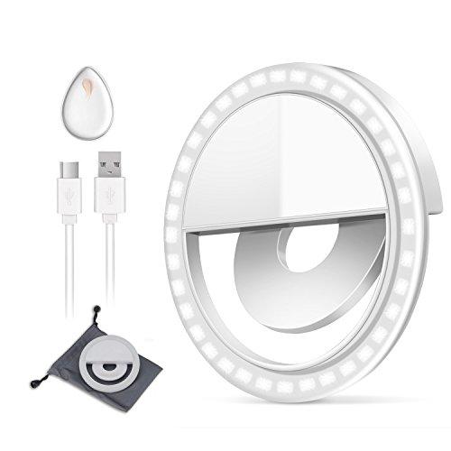 Selfie Light, SKL Wiederaufladbare [New Release] Selfie Ring Licht Outdoor Webcast Unentbehrlich 36 LED Ergänzung 0.5cm Super Slim Ring Licht für jeden Handy / Tablet und Fotografie (weiß)
