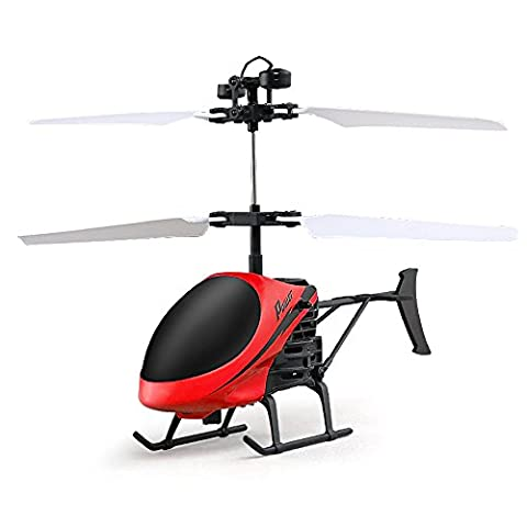 Mini Flying Helicopter, Rcool Creative Hand Suspension RC Helicopter Aircraft Infrared Sensing Induction Flying Drone Toy with Colorful LED Lighting Flashing for Kids and Adults (Red)