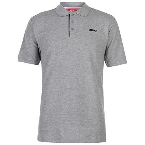 Slazenger Herren Poloshirt Polohemd Kurzarm Kragen-Ansatz Sommer Freizeit Top Grau XXX Large
