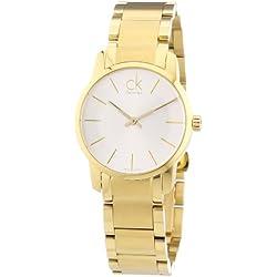 Calvin Klein K2G23546 - Reloj analógico de cuarzo para mujer con correa de acero inoxidable bañado, color dorado
