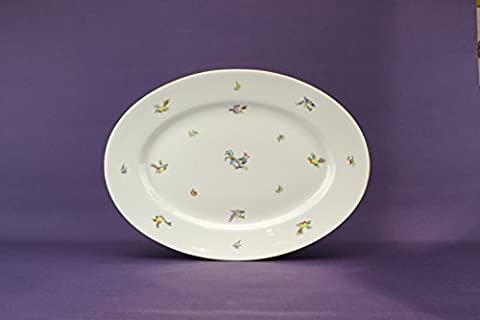 Vintage Luxurious Birds PLATTER Herend Neo-classical Cake Porcelain White Dinner Dish Hungarian Late 1900s (2 White Piatto Mat)