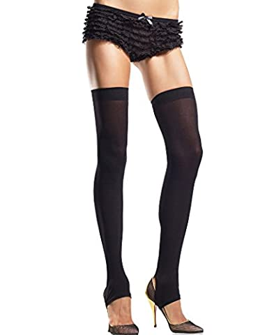 Ladies Sexy Black Opaque Footless Stirrup Heel Thigh High Stockings - UK Size 6-12 - Retail Packaged - Women's Hosiery Leg Warmers Tights Fancy Dress Open Toe Holdups Skater Gothic Punk Fancy Dress