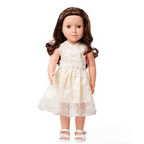 MeiMei 45 cm Mädchen Puppe mit braunen Haaren braune Augen voller Vinyl Kleid Spielzeug Geschenkbox für Kinder Alter 3 +