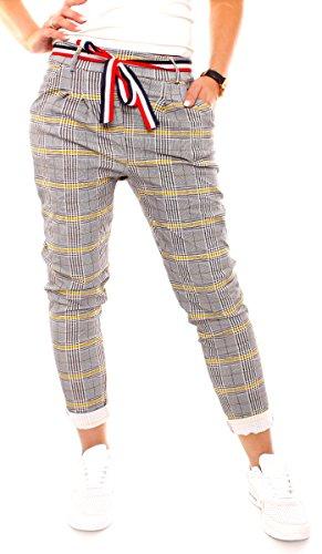 Damen Sommer Lounge Stretch Hose Pepita Glencheck Sommerhose Jogginghose Relaxpants Lang Vikose Kariert Schwarz-Weiß-Gelb L - 40 (XL)