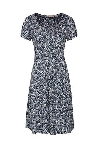 Mountain Warehouse Orchid Gemustertes Damenkleid mit UV-Schutz - Strandkleid, leichtes Sommerkleid, Taschen, sportliches Tageskleid - Für Frühling, Reisen, Pool Dunkelblau DE 32 (EU 34)