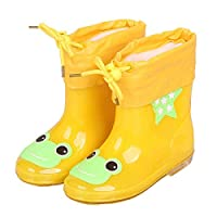 LYXFZW,Rain Boots For Kids,girls,Rubber Wellington Boots Children With Soft Plush Warm Ankle Cute Waterproof Non-Slip Boys Easy Wipe Yellow Frog Removable For Outdoor School Garden