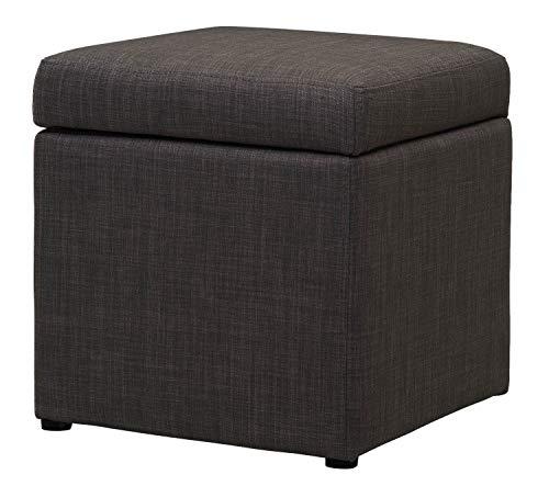 Upholstered Furniture Premium Leinen Fußhocker mit Stauraum in Anthrazit | Eckig Stoff Fußstütze (Hocker Scharnier)