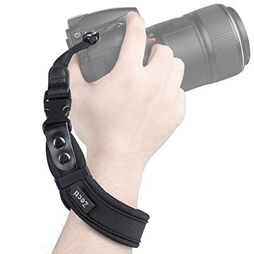 Zecti Correa mano para cámara réflex 2 tipo de correas (1 para muñeca 1 para seguro) De neopreno muy resistente y cómodo -- Color negro