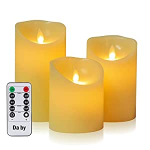 LED-Kerzen von Da by, Flammenlose Kerze 300 Stunden Batterie Dekorative Kerzen Set 3 (10cm, 12.8cm, 15.2cm). Die echt blinkende LED-Flamme ist aus elfenbeinfarbenem Echtwachs gefertigt. 10-Tasten-Fern