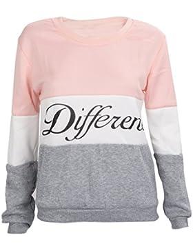 SODIAL(R)Ropa femenina Cartas estampadas Diferente Mixto Informal suelto Sueter de pulover Gris + rosado S