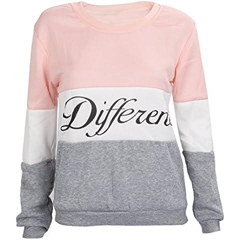 SODIAL(R)Ropa femenina Cartas estampadas Diferente Mixto Informal suelto Sueter de pulover Gris + rosado
