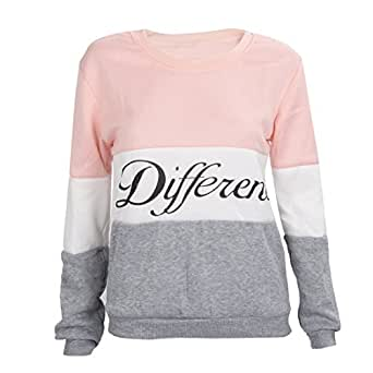 TOOGOO (R)Lettres imprimes differents Mix pull Lache Casual pull femmes gris + rose M