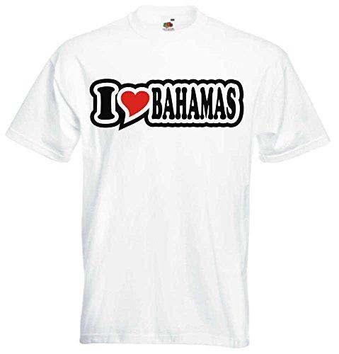 T-Shirt I Love Heart Herren I LOVE BAHAMAS Weiß