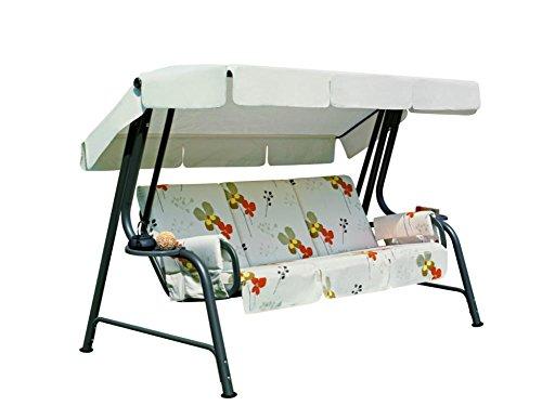 Ideapiu Balancelle de Jardin, Bascule avec Rembourrage revêtement Tissu à Fleurs, balancelle 4 Places, Bascule