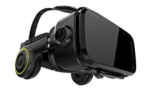 VR Shark X4 - VR Brille / Headset / VR-Box kompatibel zu 4,7 - 6,2 Android Smartphones von Samsung, Sony, HTC, LG, Huawei, Motorola, Xiaomi, Asus, Google Pixel [120 FOV / schwarz / QR Codes]