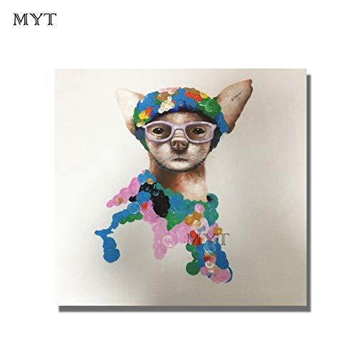 MYT Abstrakte Tier niedlich tragen Brille Hund Ölgemälde auf Leinwand Wandkunst Bilder für Room Home Decor No Frame