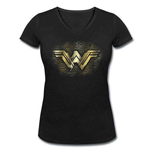 Warner Bros Wonder Woman Logo Doré T-shirt col V Femme de Spreadshirt®‎ Noir