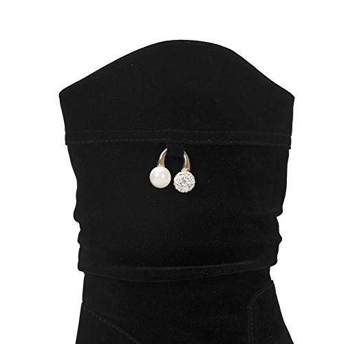 VogueZone009 Femme Tire Rond à Talon Bas Haut Bas Bottes avec Bijou Noir