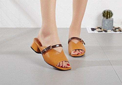 Mme sandales en cuir femme épais avec la bouche de poissons sauvages des sandales à bout ouvert carré Yellow