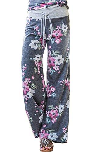Angashion Damen Blumenmuster Weite Bein Lange Hose 0902 Grau L