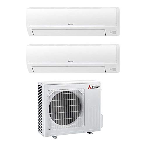 Dual Split Klimagerät 12000 + 9000 Btu, Inverter, Klasse A++/A+ MSZ-HR25 + HR35VF + MXZ-2HA50VF