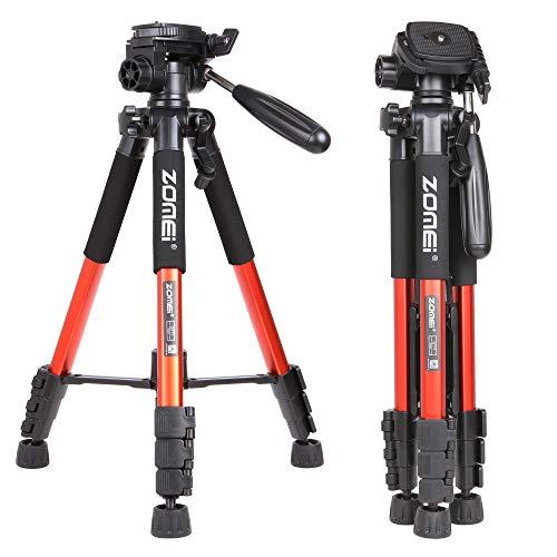 Zomei Q111 Professionelle Aluminium Kamera Stativ Camcorder Stand mit Pan Kopfplatte für DSLR Canon Nikon Sony DV Videoständer, Orange