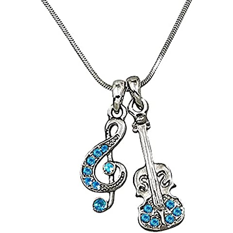dianal Boutique Música Treble G Clef Nota y violín Encanto Colgante y Collar Azul Crystal Fashion Jewelry